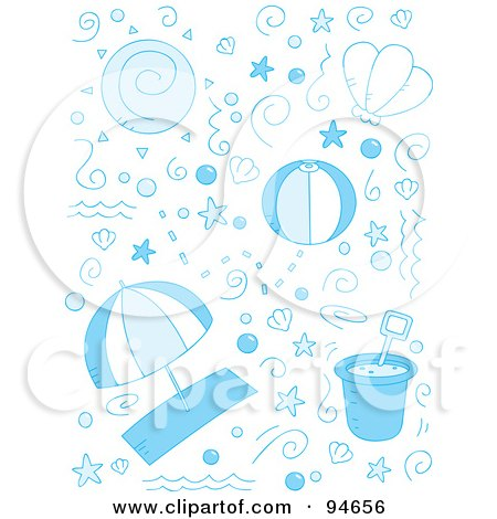 Royalty-Free (RF) Clipart Illustration of a Collage Of Beach Doodles by Cory Thoman