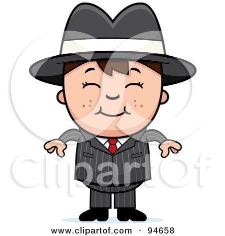 Royalty-Free (RF) Clipart Illustration of a Little Mafia Boy In A Suit by Cory Thoman