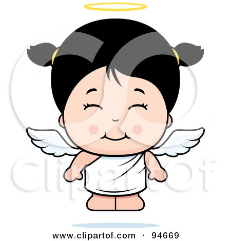 Royalty-Free (RF) Clipart Illustration of a Cute Asian Angel Girl by Cory Thoman