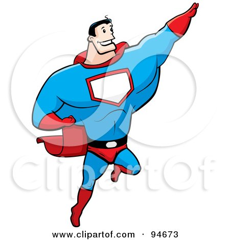 Strong Super Hero Guy Flying Posters, Art Prints