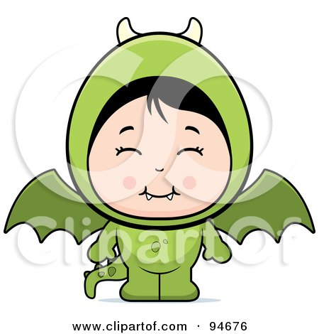 Royalty-Free (RF) Clipart Illustration of a Cute Asian Girl In A Dragon Costume by Cory Thoman