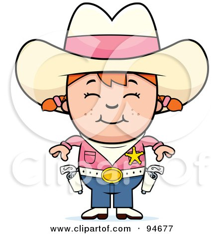 Royalty-Free (RF) Clipart Illustration of a Cute Cowgirl In Pink, Ready To Draw Her Guns by Cory Thoman