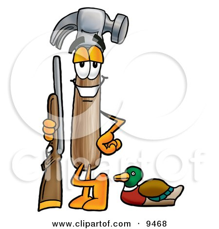 Clipart Picture of a Hammer Mascot Cartoon Character Duck Hunting, Standing With a Rifle and Duck by Toons4Biz