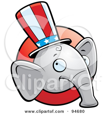 Royalty-Free (RF) Clipart Illustration of a Republican Elephant Face Over A Red Circle by Cory Thoman