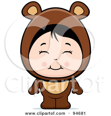 Royalty-Free (RF) Clipart Illustration of a Cute Asian Girl In A Bear Costume by Cory Thoman