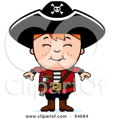 Royalty-Free (RF) Clipart Illustration of a Little Pirate Boy With His Arms At His Sides by Cory Thoman
