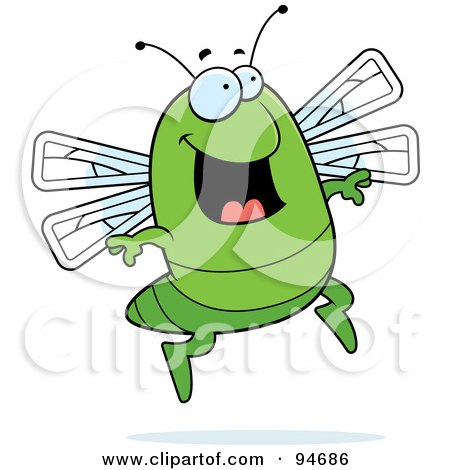 Royalty-Free (RF) Clipart Illustration of a Happy Jumping Green Dragonfly by Cory Thoman