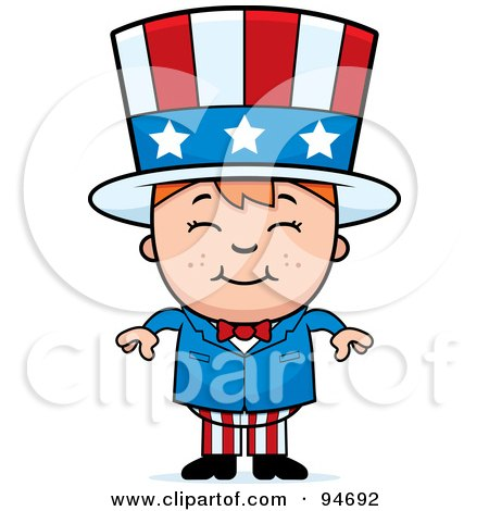 Royalty-Free (RF) Clipart Illustration of a Little American Boy In An Uncle Sam Costume by Cory Thoman