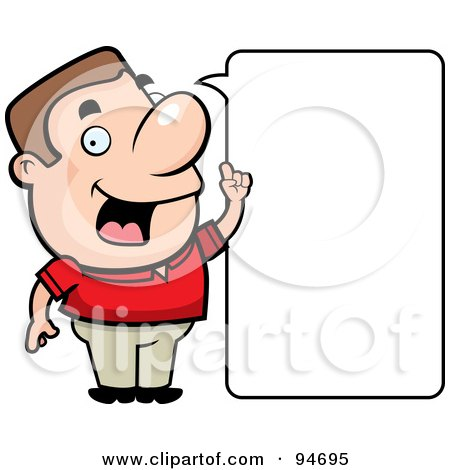 Royalty-Free (RF) Clipart Illustration of a Friendly Guy Stating An Idea, With A Blank Word Box by Cory Thoman