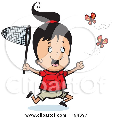 Royalty-Free (RF) Clipart Illustration of a Happy Girl Running And Chasing Butterflies With A Net by Cory Thoman