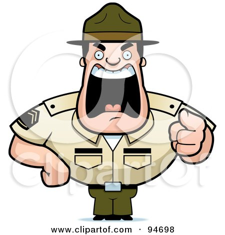 Royalty Free RF Clipart Illustration Of A Screaming Tough Drill Sergeant