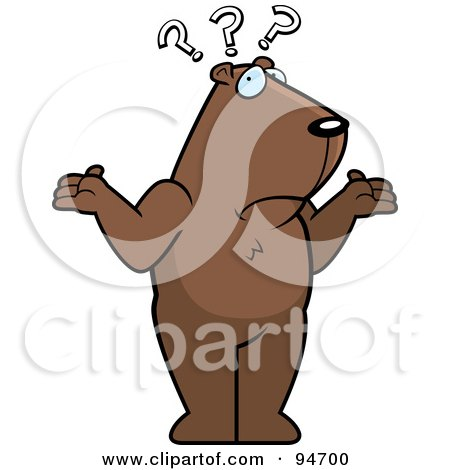 Royalty-Free (RF) Clipart Illustration of a Confused Groundhog Shrugging Under Question Marks by Cory Thoman