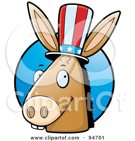 Royalty-Free (RF) Clipart Illustration of a Democratic Donkey Head In Front Of A Blue Circle by Cory Thoman