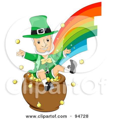 Royalty-Free (RF) Clipart Illustration of an Old Leprechaun Man Jumping In A Pot Of Gold At The End Of A Rainbow by BNP Design Studio