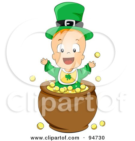 Royalty-Free (RF) Clipart Illustration of a Leprechaun Baby Playing In A Pot Of Gold by BNP Design Studio
