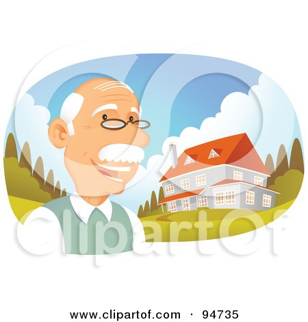 Royalty-Free (RF) Clipart Illustration of a Successful Senior Man Standing Near His Multi Story Home by Qiun