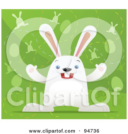 Royalty-Free (RF) Clipart Illustration of a White Easter Hair Over A Green Background With Eggs And Bunnies by Qiun