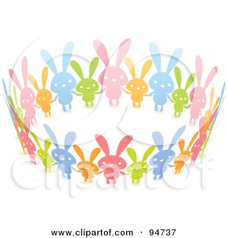 Royalty-Free (RF) Clipart Illustration of a United Circle Of Colorful Paper Rabbits Holding Hands by Qiun