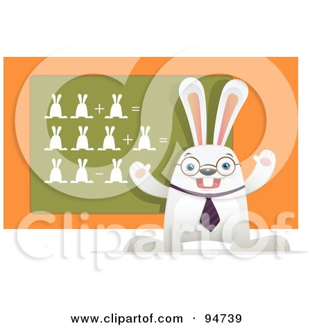 Royalty-Free (RF) Clipart Illustration of a White Hare Teaching A Math Class, With Bunnies On A Chalk Board by Qiun