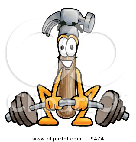 Clipart Picture of a Hammer Mascot Cartoon Character Lifting a Heavy Barbell by Toons4Biz