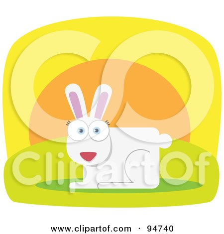 Royalty-Free (RF) Clipart Illustration of a Square Bodied White Hare by Qiun