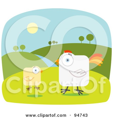 Royalty-Free (RF) Clipart Illustration of a Square Bodied Rooster And Chick On A Farm by Qiun