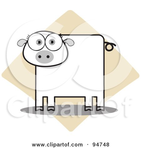 Royalty-Free (RF) Clipart Illustration of a Square Bodied Piggy by Qiun