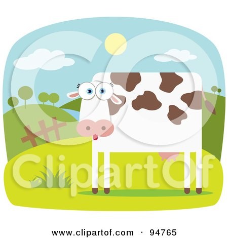 Royalty-Free (RF) Clipart Illustration of a Square Bodied Farm Cow In A Farm Pasture by Qiun
