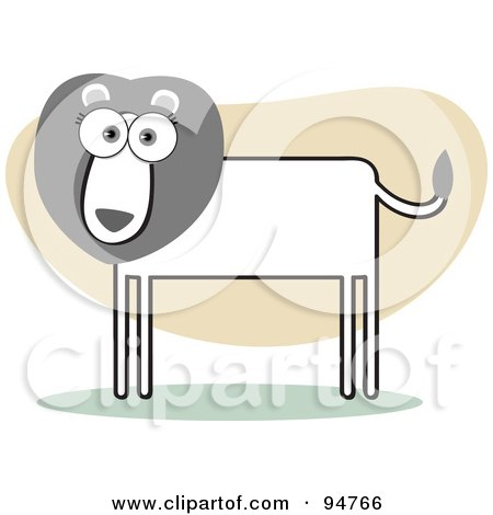 Royalty-Free (RF) Clipart Illustration of a Square Bodied Male Lion by Qiun