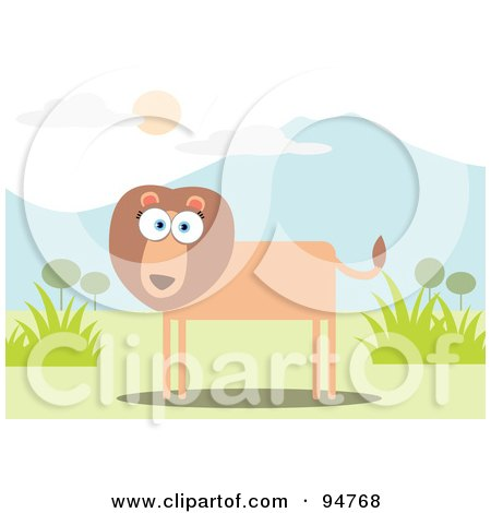 Royalty-Free (RF) Clipart Illustration of a Square Bodied Lion Near Mountains by Qiun
