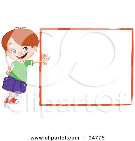 Royalty-Free (RF) Clipart Illustration of an Outgoing Little Boy Leaning Against A Blank White Sign by yayayoyo