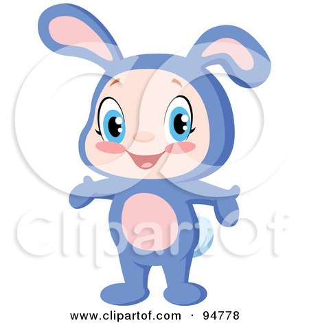 Royalty-Free (RF) Clipart Illustration of a Cute Little Boy Or Girl Holding Their Arms Out And Wearing A Purple Bunny Costume by yayayoyo