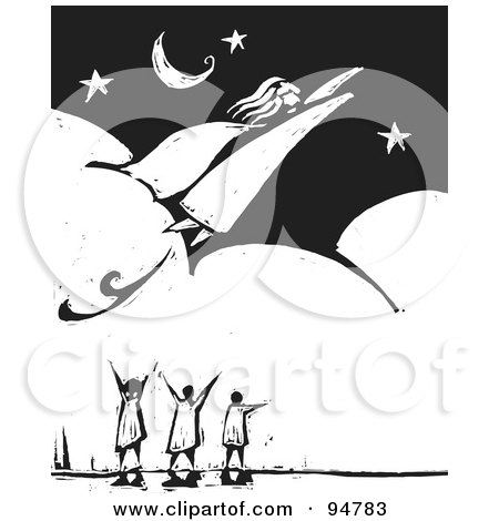 Royalty-Free (RF) Clipart Illustration of a Black And White Wood Carving Styled People Watching A Super Woman Fly Through A Night Sky by xunantunich