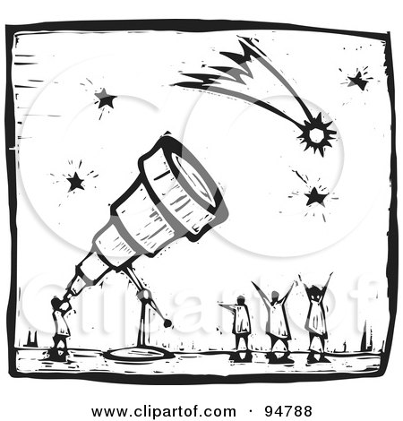 Royalty Free RF Clipart Illustration Of A Black And White Wood Carving Styled Astronomer Using Telescope To View Comets Stars By Xunantunich