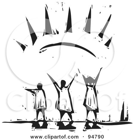 Royalty-Free (RF) Clipart Illustration of a Black And White Wood Carving Styled People Embracing The Warmth Of The Sun by xunantunich