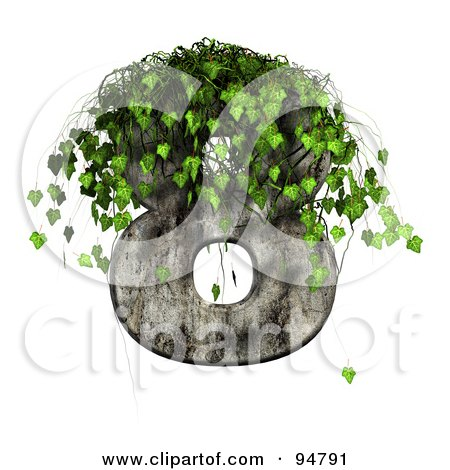 Royalty-Free (RF) Clipart Illustration of Green Ivy Overgrowing On A Cement Number 8 by chrisroll