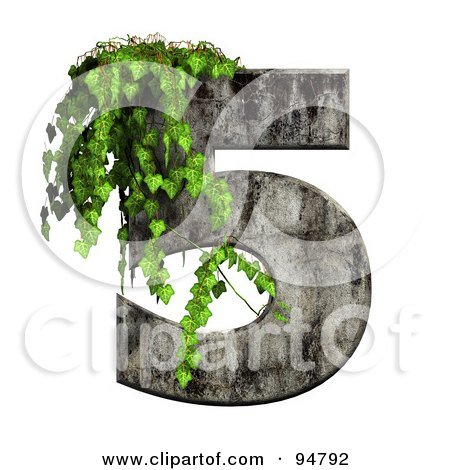 Royalty-Free (RF) Clipart Illustration of Green Ivy Overgrowing On A Cement Number 5 by chrisroll