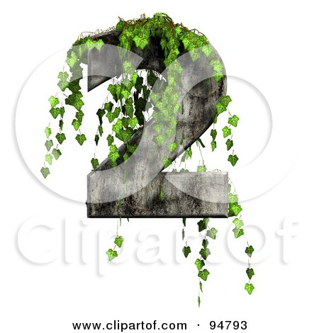 Royalty-Free (RF) Clipart Illustration of Green Ivy Overgrowing On A Cement Number 2 by chrisroll