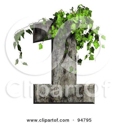 Royalty-Free (RF) Clipart Illustration of Green Ivy Overgrowing On A Cement Number 1 by chrisroll