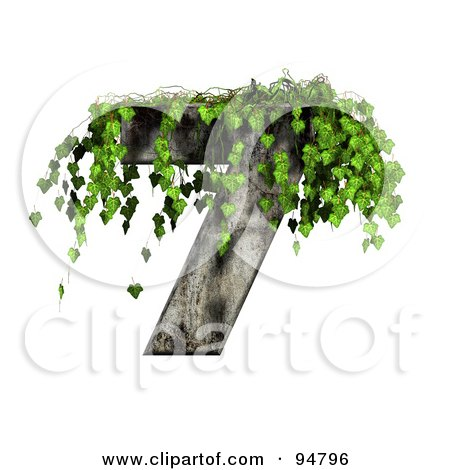Royalty-Free (RF) Clipart Illustration of Green Ivy Overgrowing On A Cement Number 7 by chrisroll