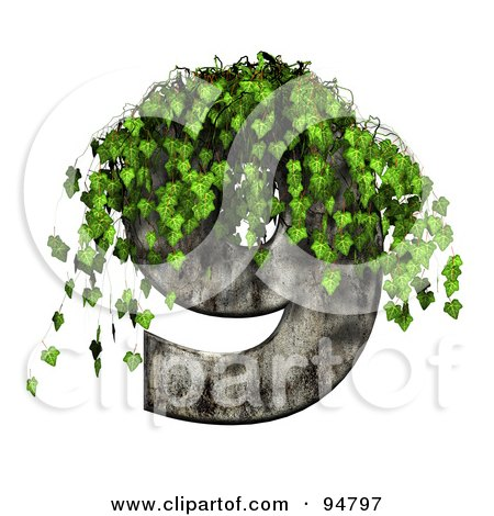 Royalty-Free (RF) Clipart Illustration of Green Ivy Overgrowing On A Cement Number 9 by chrisroll