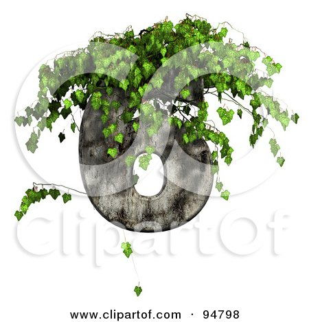 Royalty-Free (RF) Clipart Illustration of Green Ivy Overgrowing On A Cement Number 6 by chrisroll