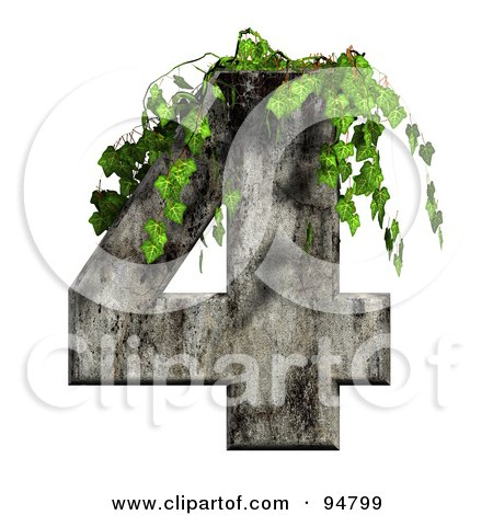 Royalty-Free (RF) Clipart Illustration of Green Ivy Overgrowing On A Cement Number 4 by chrisroll