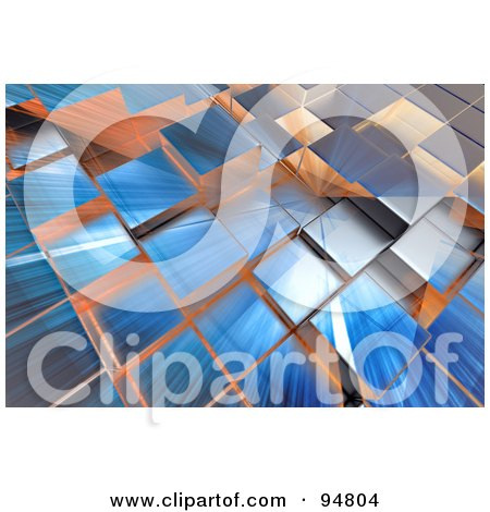 Royalty-Free (RF) Clipart Illustration of a Background Of Rays Of Light Over 3d Reflective Cubic Columns by chrisroll