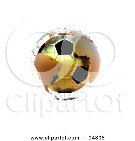 Royalty-Free (RF) Clipart Illustration of a 3d Golden Soccer Globe by chrisroll
