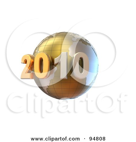Royalty-Free (RF) Clipart Illustration of a 3d Golden New Year 2020 Globe With Grid Marks by chrisroll