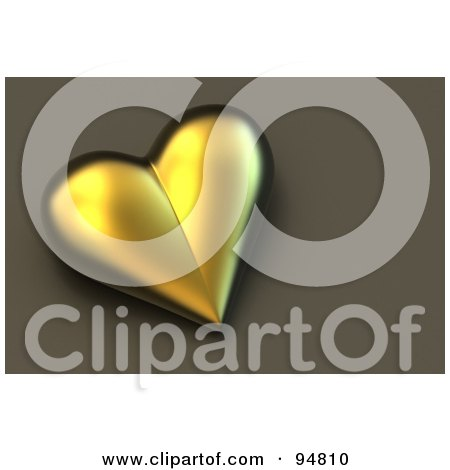 Royalty-Free (RF) Clipart Illustration of a 3d Heart Of Gold Over A Brown Background by chrisroll