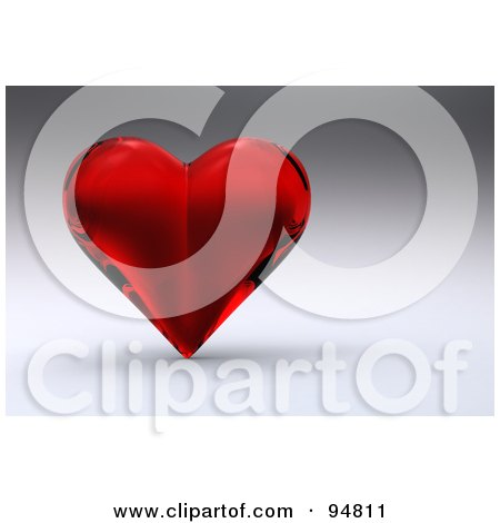 Royalty-Free (RF) Clipart Illustration of a 3d Red Glass Heart Over A Shaded Background by chrisroll