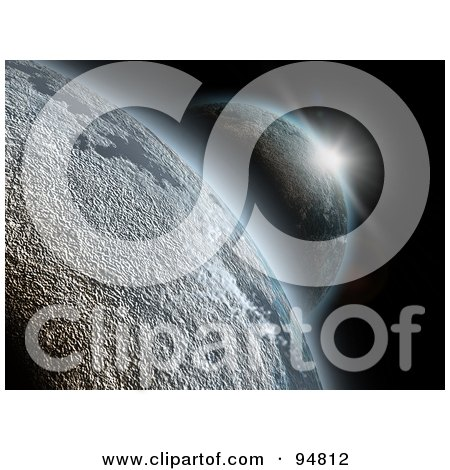 Royalty-Free (RF) Clipart Illustration of a Flare Of Light Shining Over One 3d Planet Onto Another Planet by chrisroll