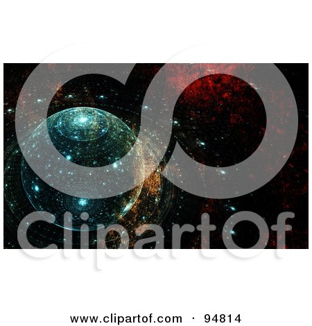 Royalty-Free (RF) Clipart Illustration of an Abstract Futuristic Fractal Background Of A Grungy Solar System by chrisroll